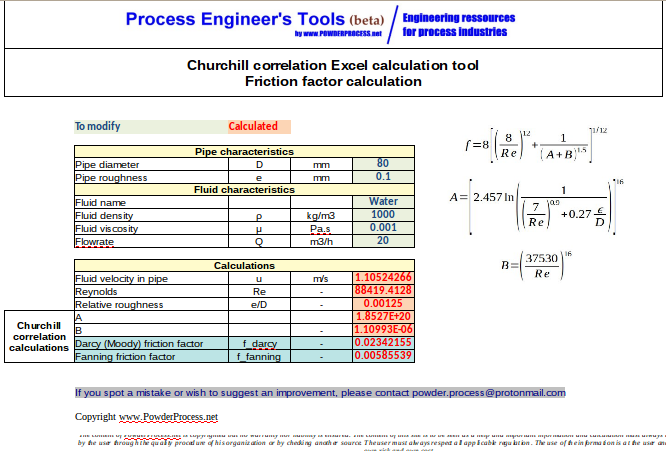 Churchill equation Excel calculation Tool - Friction Factor