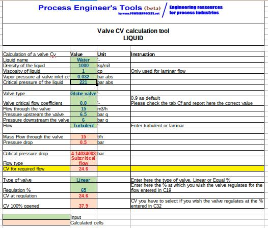 Control Valve Cv Excel calculation Tool - Liquid, Gas, Steam